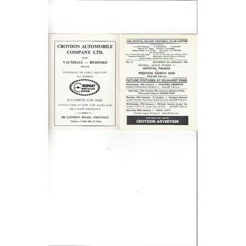 Crystal Palace v Preston 1967/68 Jan 6th