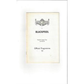 1969/70 Crystal Palace v Blackpool League Cup Football Programme
