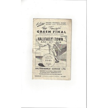 1958/59 Halifax Town v Bury Football Programme