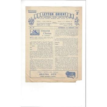 1954/55 Leyton Orient v Bristol City Football Programme