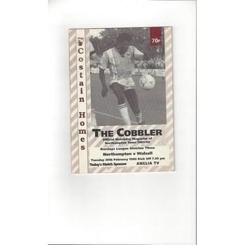 1989/90 Northampton Town v Walsall Football Programme