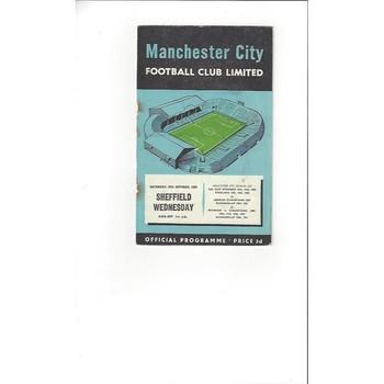 1956/57 Manchester City v Sheffield Wednesday Football Programme