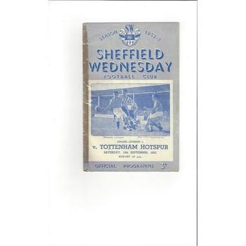 1952/53 Sheffield Wednesday v Tottenham Hotspur Football Programme