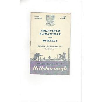 1956/57 Sheffield Wednesday v Burnley Football Programme