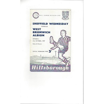 1959/60 Sheffield Wednesday v West Bromwich Albion Football Programme