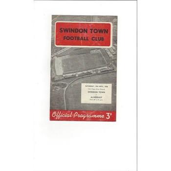 1958/59 Swindon Town v Aldershot FA Cup Football Programme
