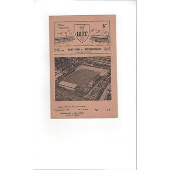 1959/60 Watford v Birmingham City FA Cup Football Programme