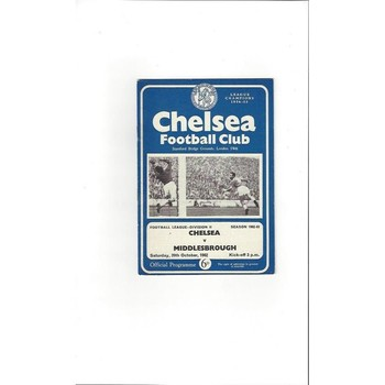 1962/63 Chelsea v Middlesbrough Football Programme