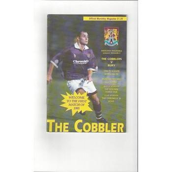 1994/95 Northampton Town v Bury Football Programme Jan