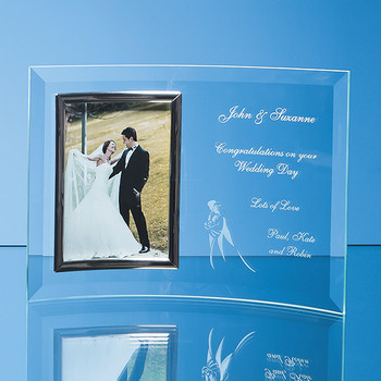 "Bevelled Glass Crescent Frame for 5""x 7"" Portrait Photo"
