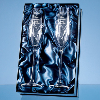 Diamante Champagne Flutes with Heart Shaped Cutting in a Satin Lined Gift Box x 2