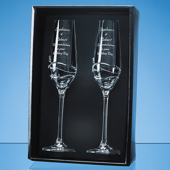 Diamante Champagne Flutes (x 2) with Modena Spiral Cutting in an attractive Gift Box