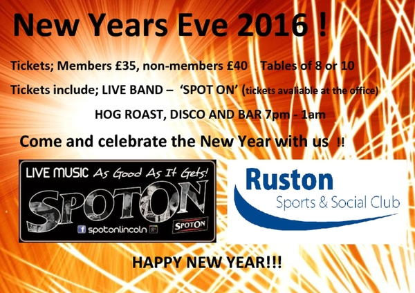 New Years Eve tickets on sale now!