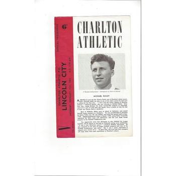 1960/61 Charlton Athletic v Lincoln City Football Programme