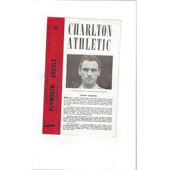 1960/61 Charlton Athletic v Plymouth Argyle Football Programme