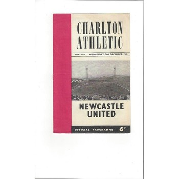 1962/63 Charlton Athletic v Newcastle United Football Programme
