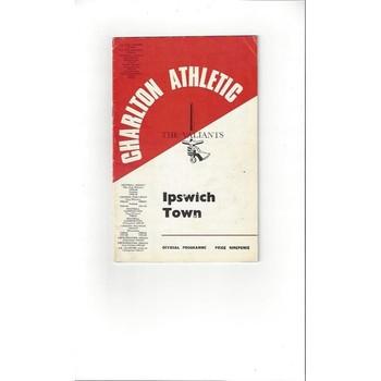 1967/68 Charlton Athletic v Ipswich Town Football Programme
