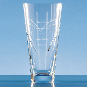 Diamante Conical Vase with Heart Shaped Cutting (25cm)