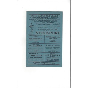 1962/63 Chester City v Stockport County League Cup Football Programme