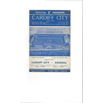 1960/61 Cardiff City v Arsenal Football Programme
