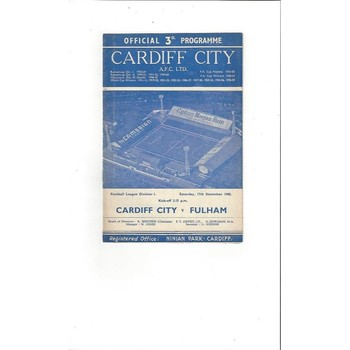 1960/61 Cardiff City v Fulham Football Programme