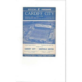 1961/62 Cardiff City v Sheffield United Football Programme