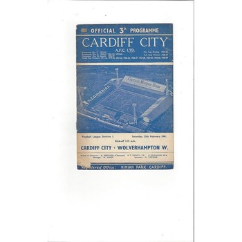 1960/61 Cardiff City v Wolves Football Programme