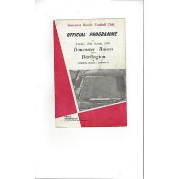 1967/68 Doncaster Rovers v Darlington Football Programme