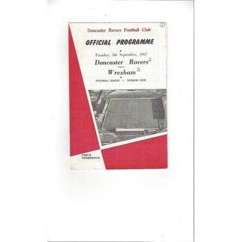 1967/68 Doncaster Rovers v Wrexham Football Programme