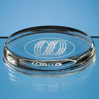 Oval Glass Paperweight (10cm)