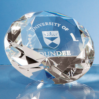 Optical Crystal Clear Diamond Paperweight (10cm)