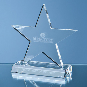 Optical Crystal 5 Pointed Star on Base Award (13cm)
