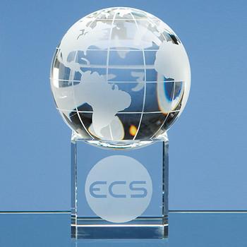 8cm Optical Crystal Globe on Clear Base