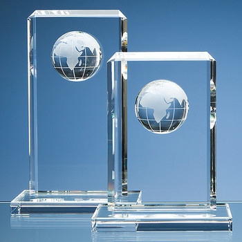 Optical Crystal Globe Rectangle Award (19cm)