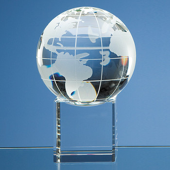 Optical Crystal Globe on Clear Base (10cm)