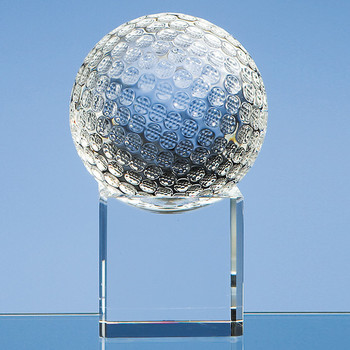 8cm Optical Crystal Golf Ball on Clear Base