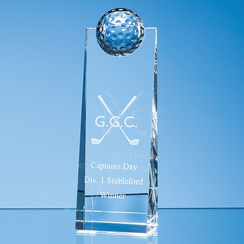 Optical Crystal Golf Ball Rectangle Award (21cm)