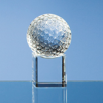 6cm Optical Crystal Golf Ball on Clear Base
