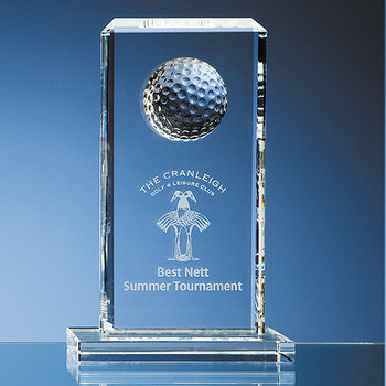 Optical Crystal Golf Ball Rectangle Award (24cm)