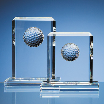 Optical Crystal Golf Ball Rectangle Award (19cm)
