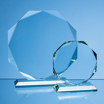 Jade Glass Facetted Octagon Award (11.5cm x 15mm)