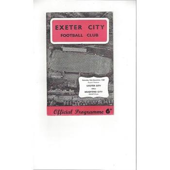 1967/68 Exeter City v Bradford City Football Programme