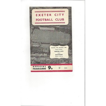 1968/69 Exeter City v Southend United Football Programme