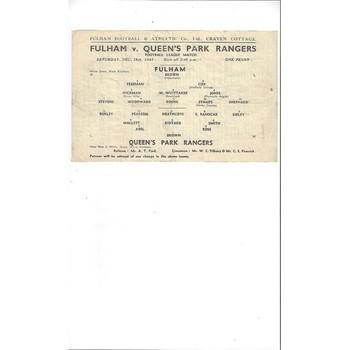 Fulham v Queens Park Rangers League South 1943/44