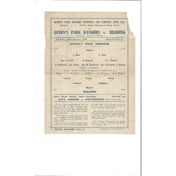 1943/44 Queens Park Rangers v Reading League South Football Programme