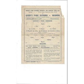 1943/44 Queens Park Rangers v Reading League South Football Programme