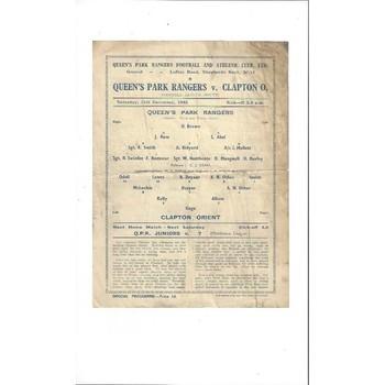 1943/44 Queens Park Rangers v Clapton Orient League South Football Programme