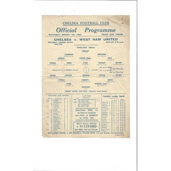 1943/44 Chelsea v West Ham United League Cup South Football Programme