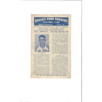 1945/46 Queens Park Rangers v Bristol City League Cup South Football Programme
