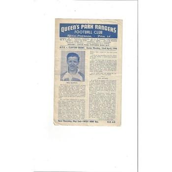 1945/46 Queens Park Rangers v Clapton Orient League Cup South Football Programme